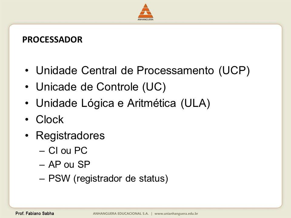 Unidade Central de Processamento (UCP) Unicade de Controle (UC)