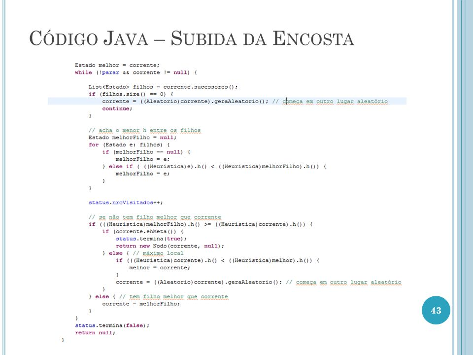 Código Java – Subida da Encosta