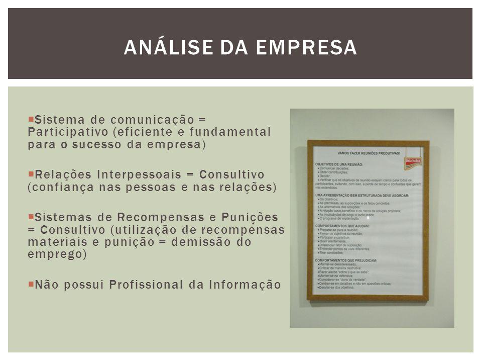 Análise da empresa Sistema de comunicação = Participativo (eficiente e fundamental para o sucesso da empresa)