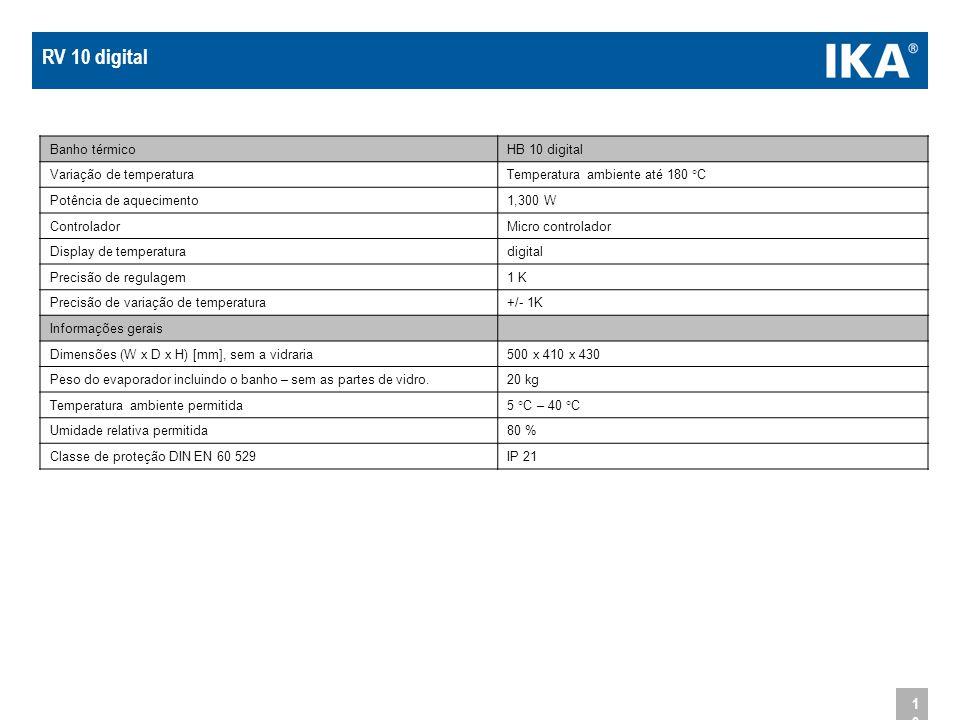 RV 10 digital Banho térmico HB 10 digital Variação de temperatura