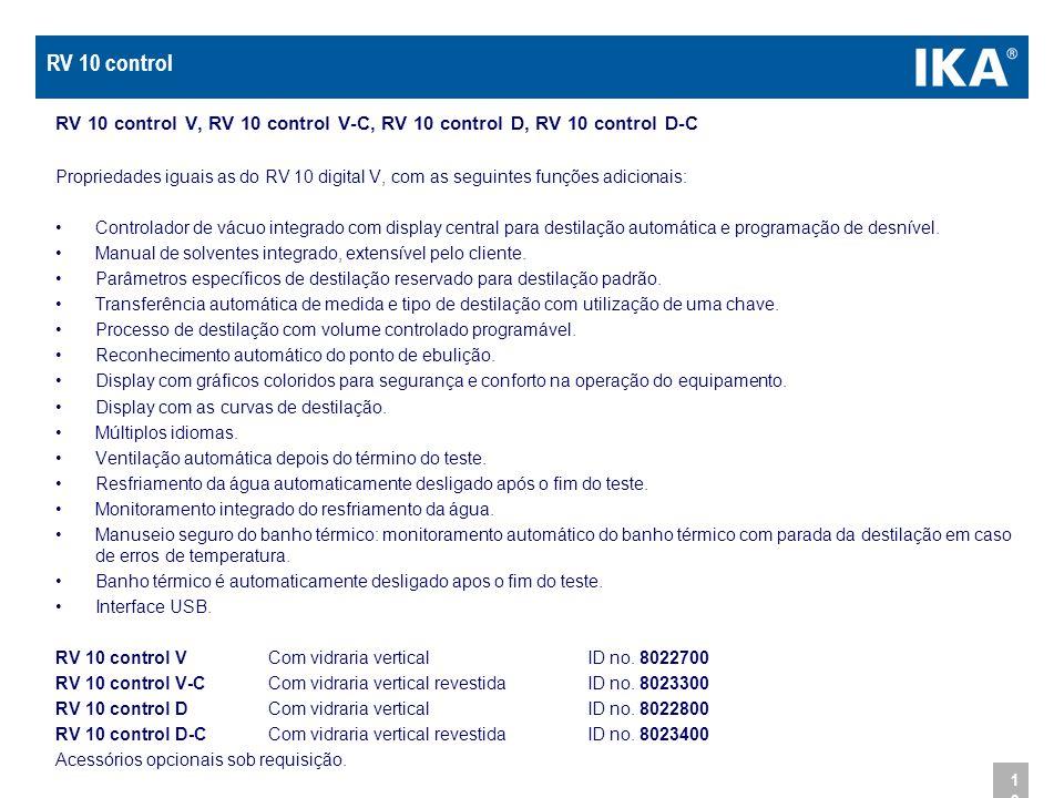 RV 10 control RV 10 control V, RV 10 control V-C, RV 10 control D, RV 10 control D-C.