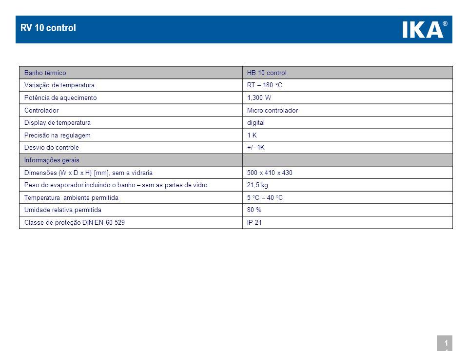 RV 10 control Banho térmico HB 10 control Variação de temperatura