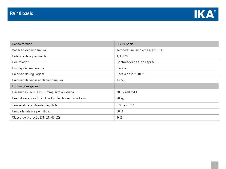 RV 10 basic Banho térmico HB 10 basic Variação de temperatura