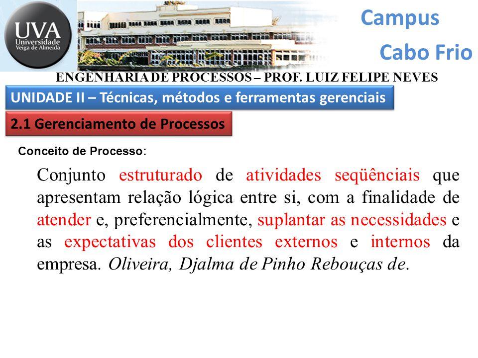 Campus Cabo Frio. ENGENHARIA DE PROCESSOS – PROF. LUIZ FELIPE NEVES. UNIDADE II – Técnicas, métodos e ferramentas gerenciais.