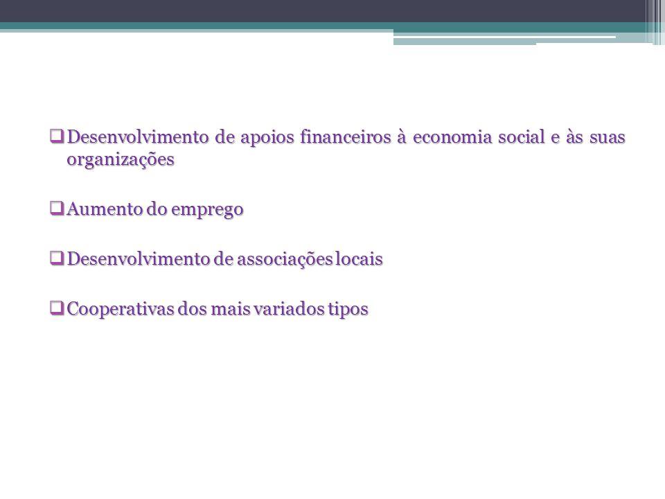 Desenvolvimento de apoios financeiros à economia social e às suas organizações