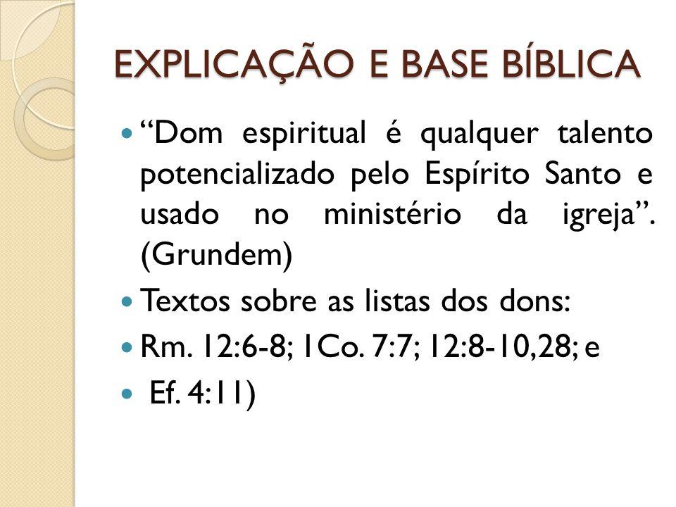 EXPLICAÇÃO E BASE BÍBLICA
