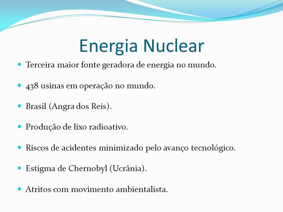 Energia Nuclear Terceira maior fonte geradora de energia no mundo.