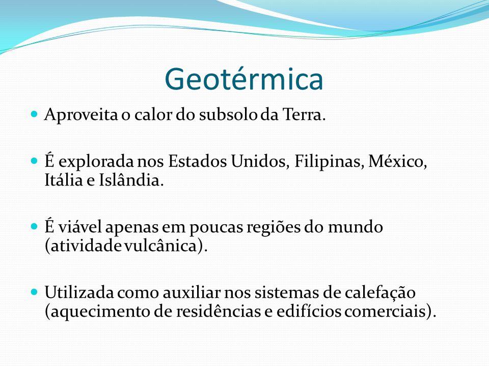 Geotérmica Aproveita o calor do subsolo da Terra.