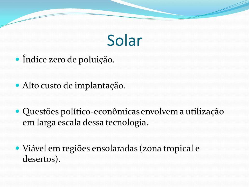 Solar Índice zero de poluição. Alto custo de implantação.