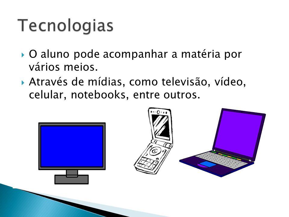 Tecnologias O aluno pode acompanhar a matéria por vários meios.