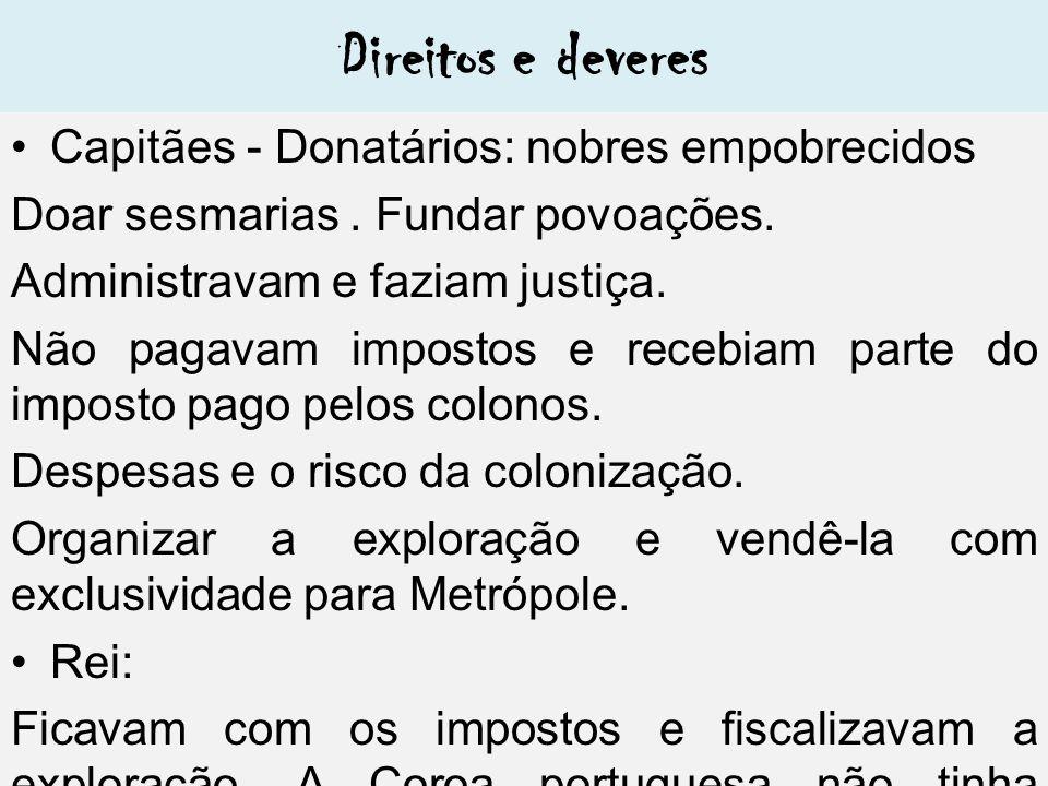 Direitos e deveres Capitães - Donatários: nobres empobrecidos