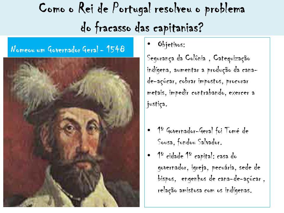 Como o Rei de Portugal resolveu o problema do fracasso das capitanias