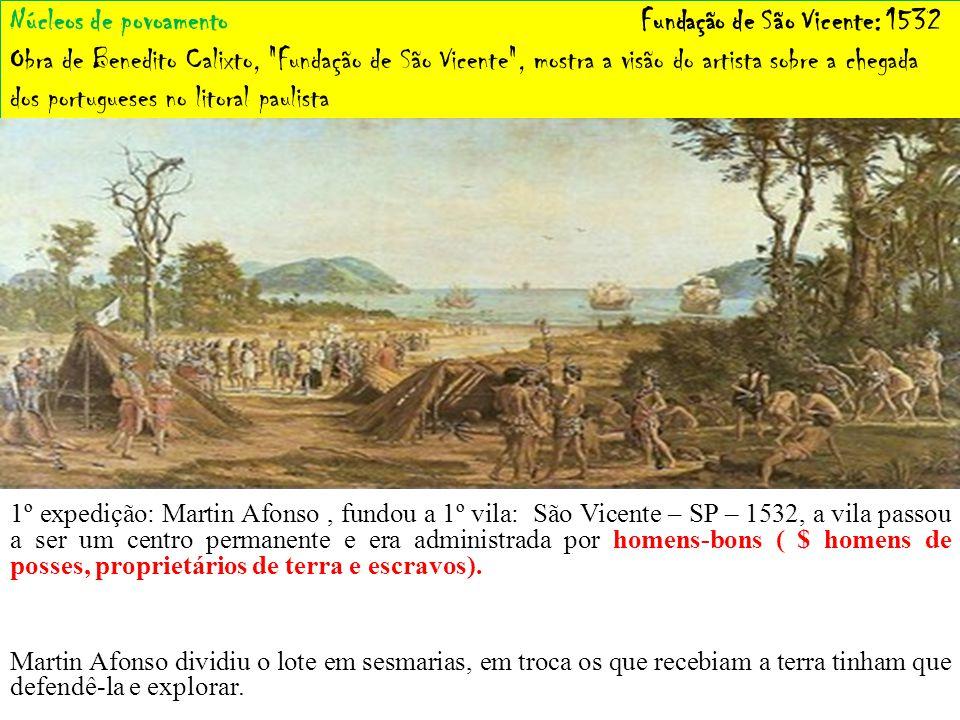 Núcleos de povoamento Fundação de São Vicente: 1532 Obra de Benedito Calixto, Fundação de São Vicente , mostra a visão do artista sobre a chegada dos portugueses no litoral paulista