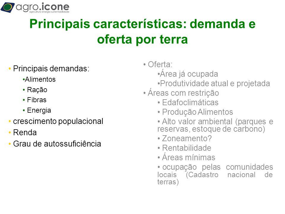 Principais características: demanda e oferta por terra
