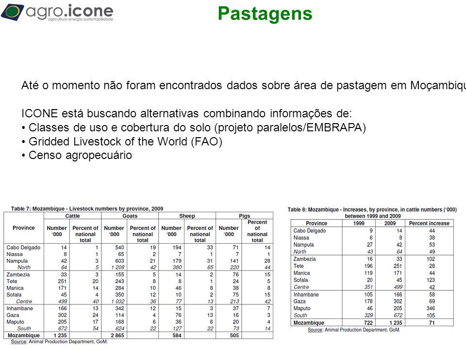 Pastagens Até o momento não foram encontrados dados sobre área de pastagem em Moçambique.