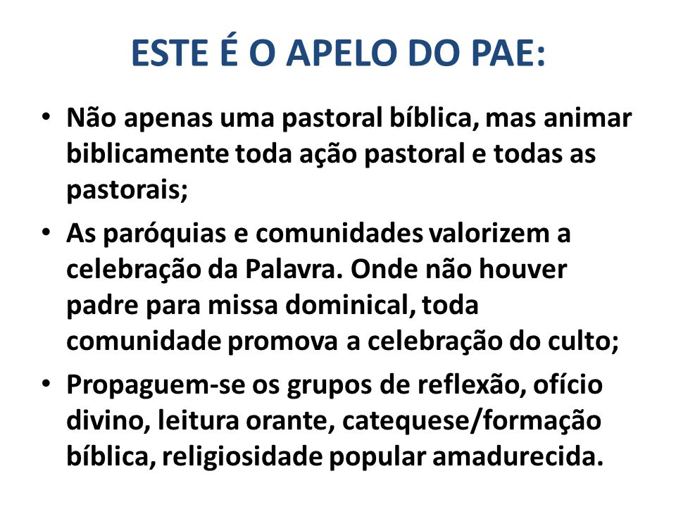 ESTE É O APELO DO PAE: Não apenas uma pastoral bíblica, mas animar biblicamente toda ação pastoral e todas as pastorais;