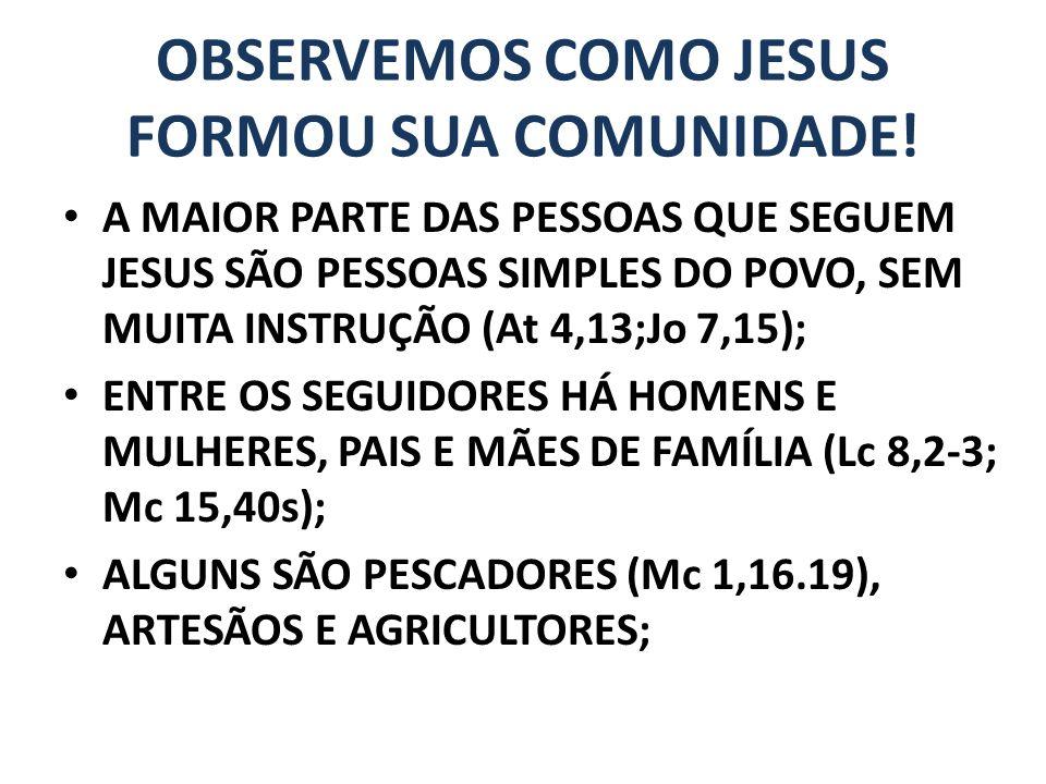 OBSERVEMOS COMO JESUS FORMOU SUA COMUNIDADE!