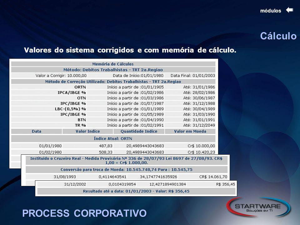 Cálculo PROCESS CORPORATIVO