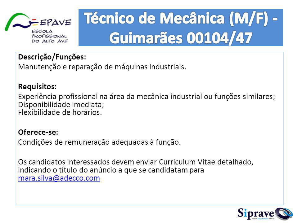 Técnico de Mecânica (M/F) - Guimarães 00104/47