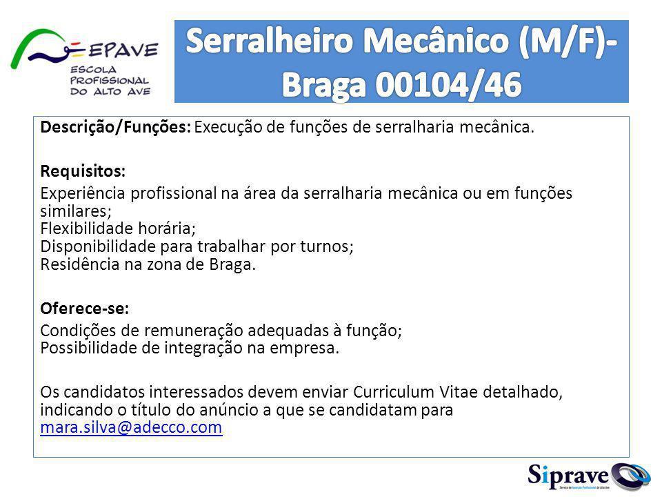 Serralheiro Mecânico (M/F)- Braga 00104/46