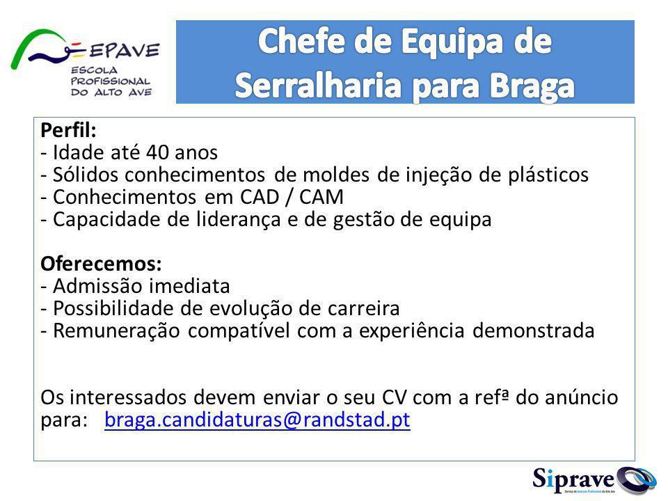 Chefe de Equipa de Serralharia para Braga