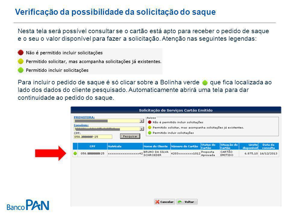 Verificação da possibilidade da solicitação do saque