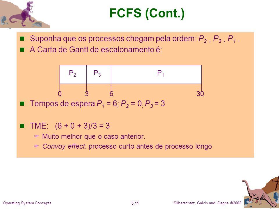FCFS (Cont.) Suponha que os processos chegam pela ordem: P2 , P3 , P1 . A Carta de Gantt de escalonamento é: