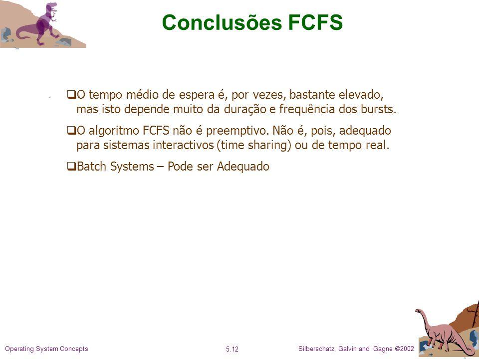 Conclusões FCFS O tempo médio de espera é, por vezes, bastante elevado, mas isto depende muito da duração e frequência dos bursts.