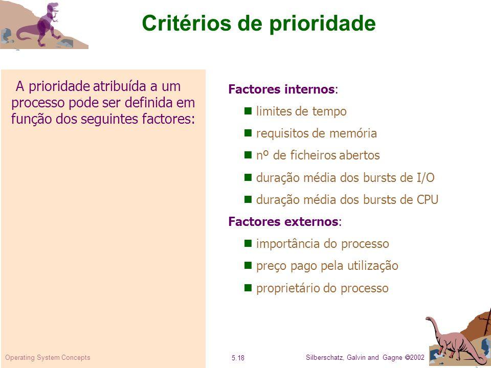 Critérios de prioridade