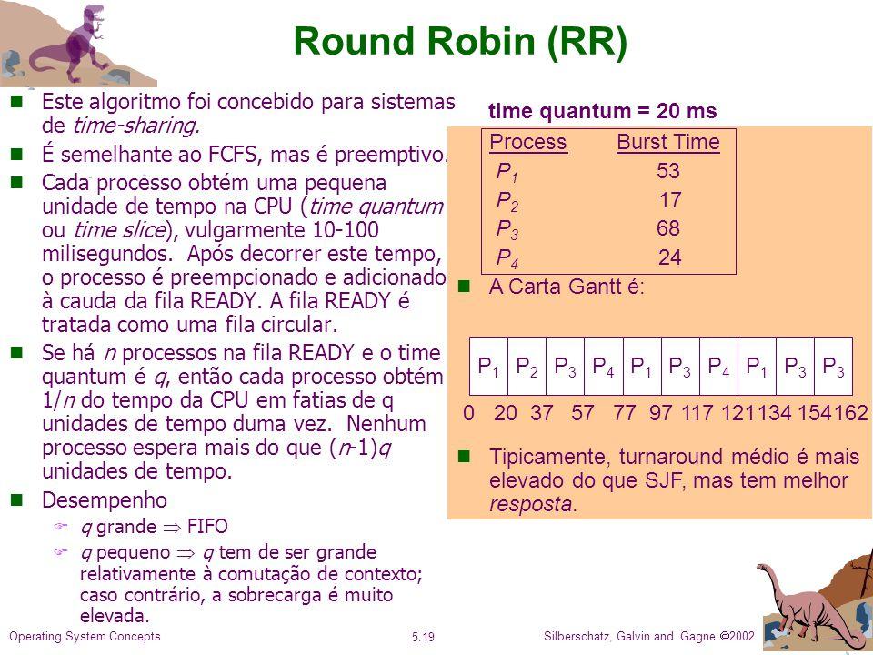 Round Robin (RR) Este algoritmo foi concebido para sistemas de time-sharing. É semelhante ao FCFS, mas é preemptivo.