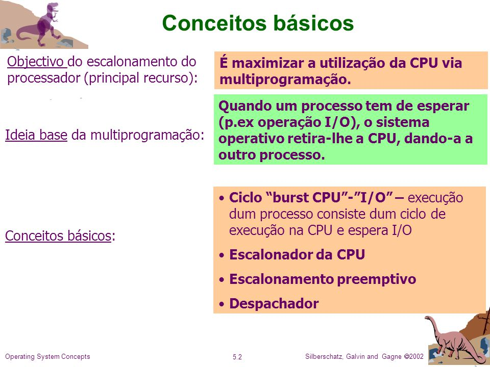 Conceitos básicos Objectivo do escalonamento do