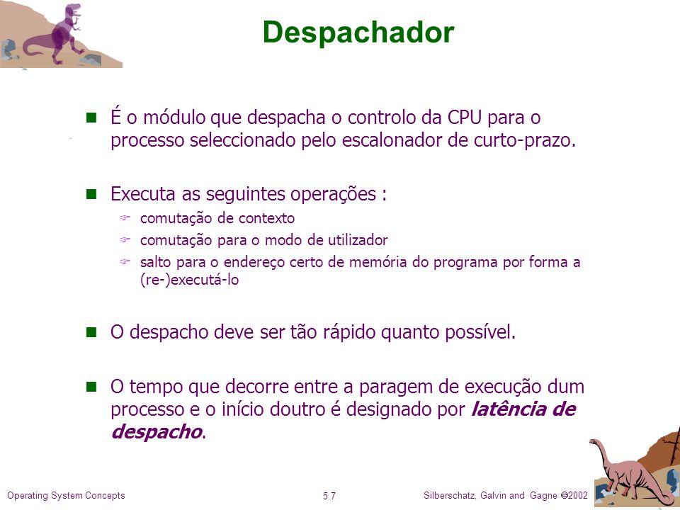 Despachador É o módulo que despacha o controlo da CPU para o processo seleccionado pelo escalonador de curto-prazo.