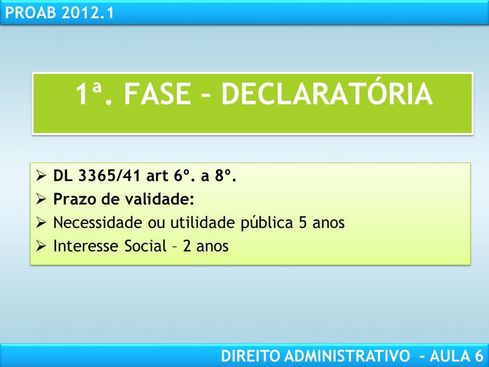 1ª. FASE – DECLARATÓRIA DL 3365/41 art 6º. a 8º. Prazo de validade: