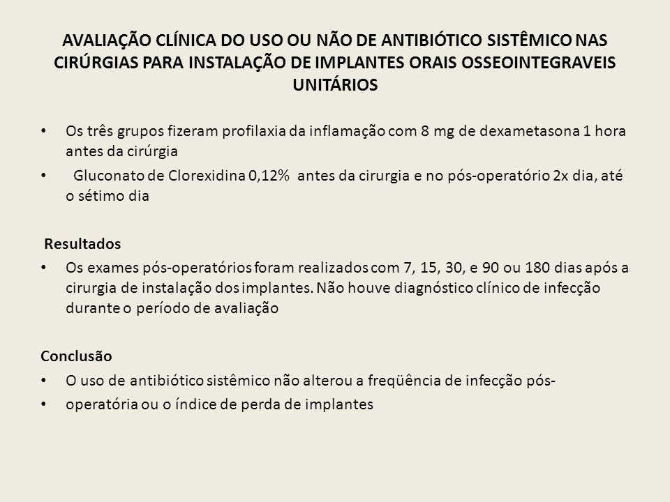 AVALIAÇÃO CLÍNICA DO USO OU NÃO DE ANTIBIÓTICO SISTÊMICO NAS CIRÚRGIAS PARA INSTALAÇÃO DE IMPLANTES ORAIS OSSEOINTEGRAVEIS UNITÁRIOS