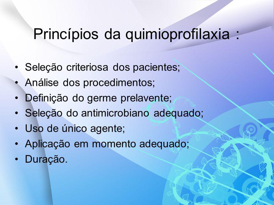 Princípios da quimioprofilaxia :