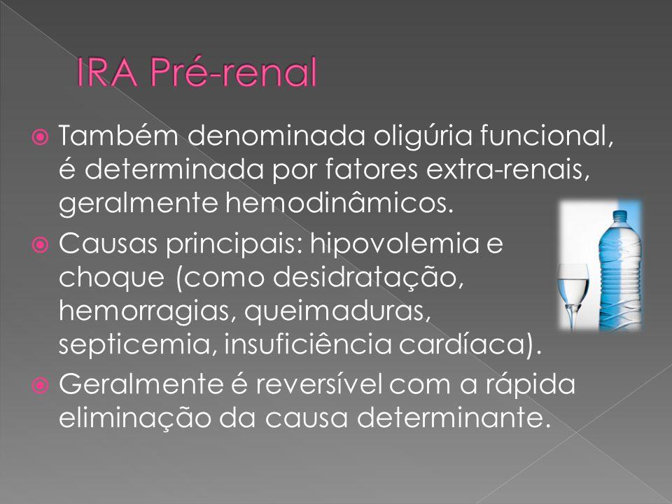 IRA Pré-renal Também denominada oligúria funcional, é determinada por fatores extra-renais, geralmente hemodinâmicos.