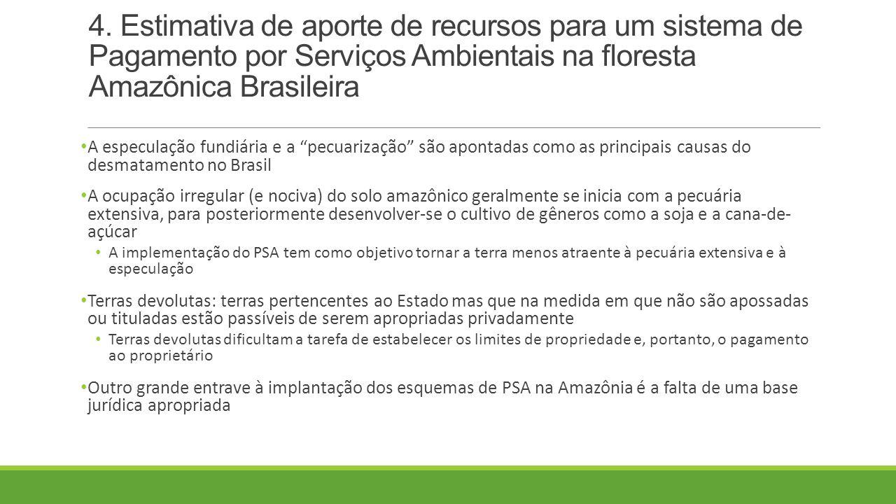 4. Estimativa de aporte de recursos para um sistema de Pagamento por Serviços Ambientais na floresta Amazônica Brasileira