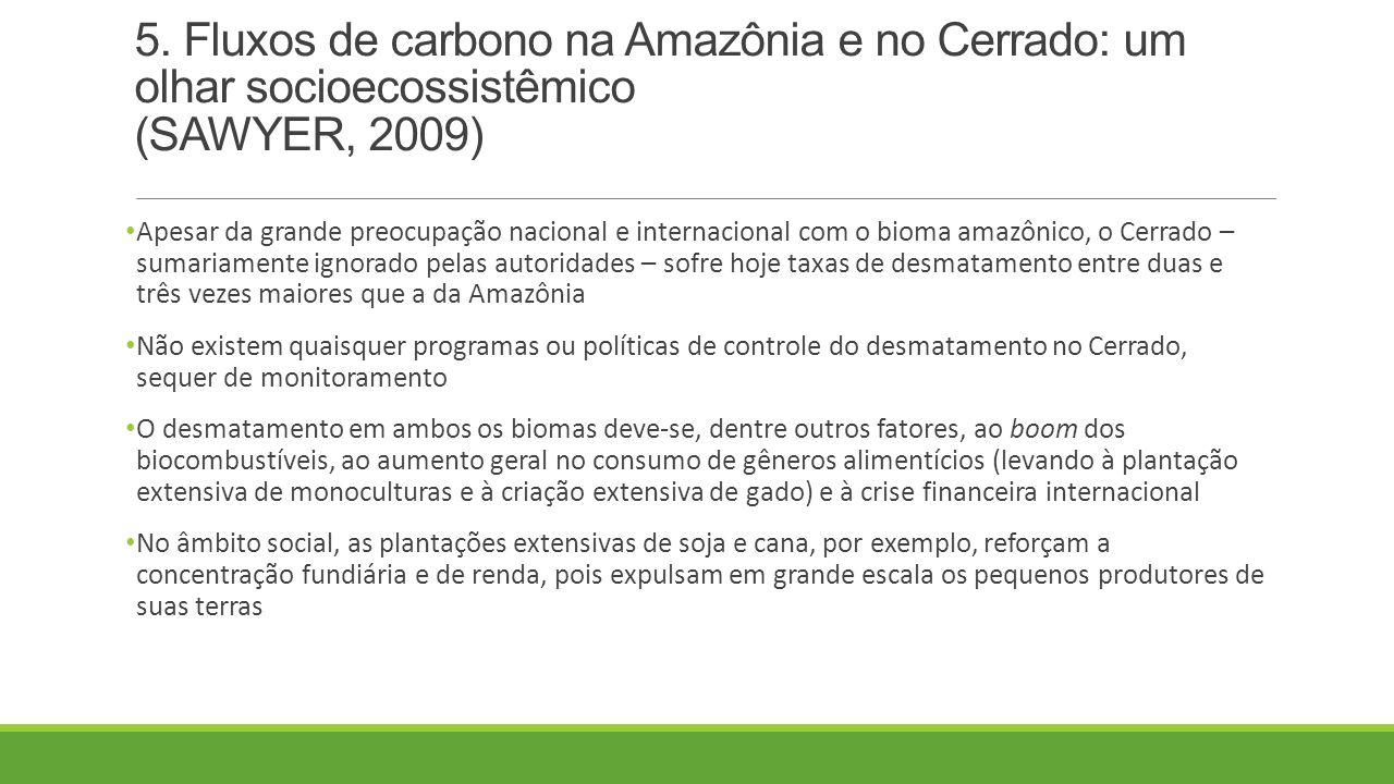 5. Fluxos de carbono na Amazônia e no Cerrado: um olhar socioecossistêmico (SAWYER, 2009)