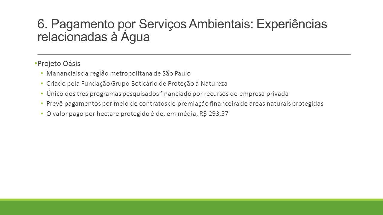 6. Pagamento por Serviços Ambientais: Experiências relacionadas à Água