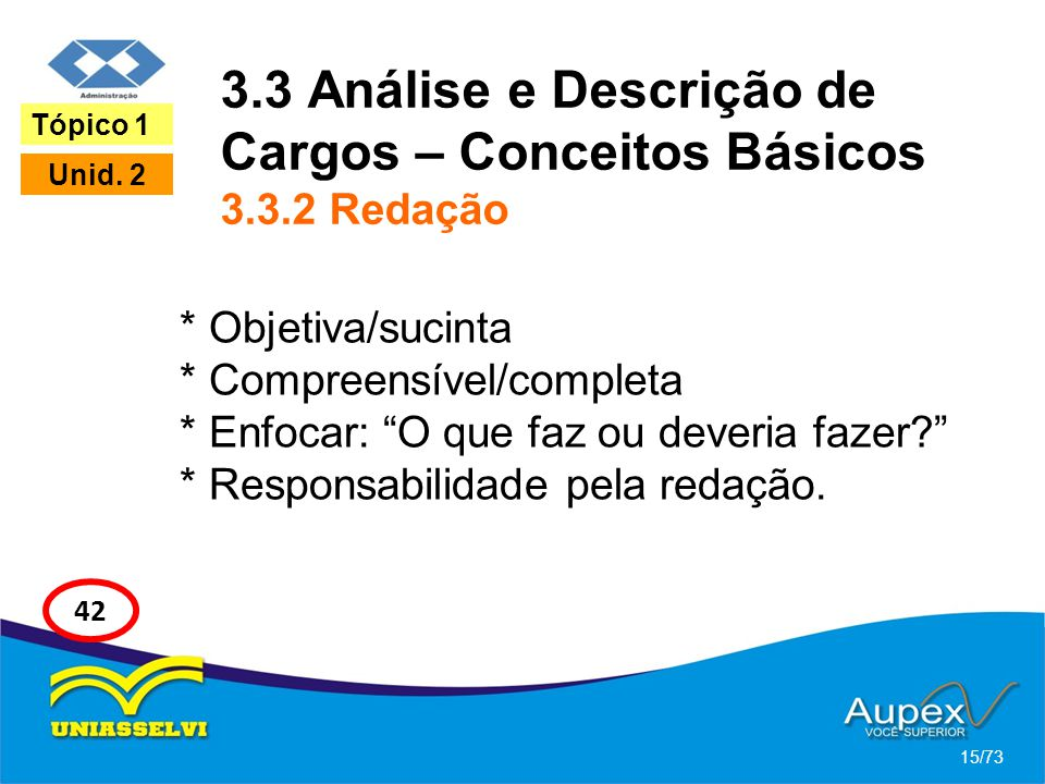 3.3 Análise e Descrição de Cargos – Conceitos Básicos 3.3.2 Redação