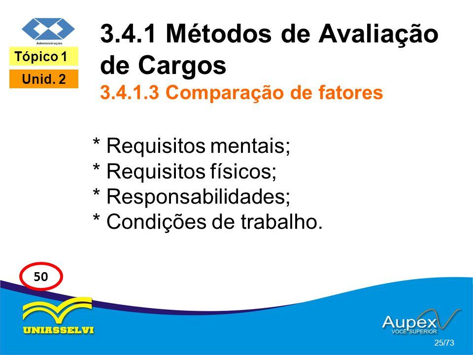 3.4.1 Métodos de Avaliação de Cargos 3.4.1.3 Comparação de fatores