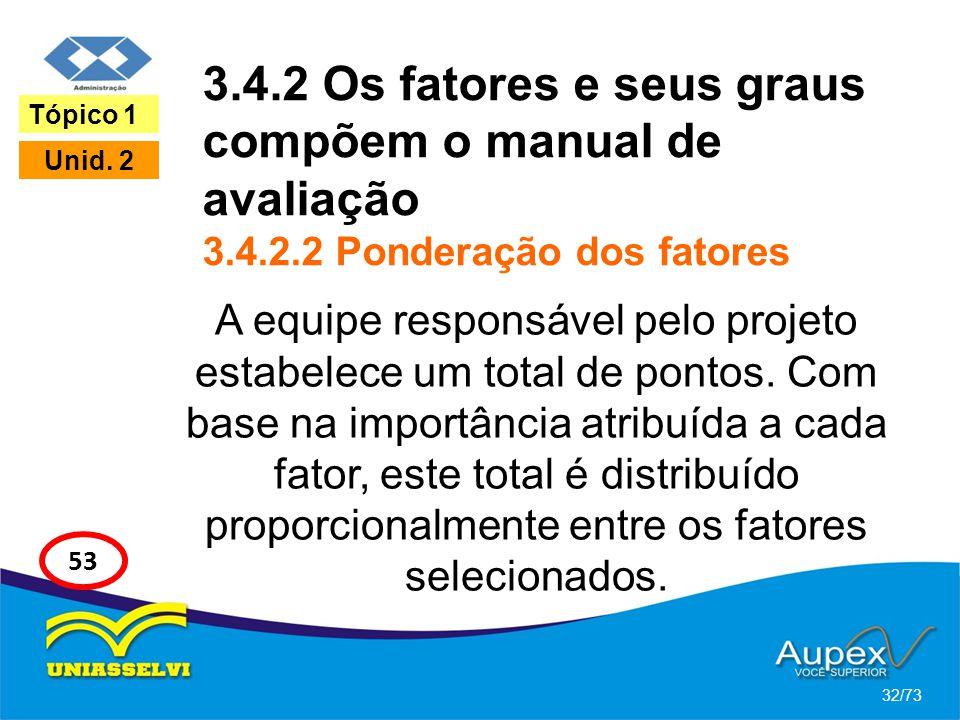 3. 4. 2 Os fatores e seus graus compõem o manual de avaliação 3. 4. 2