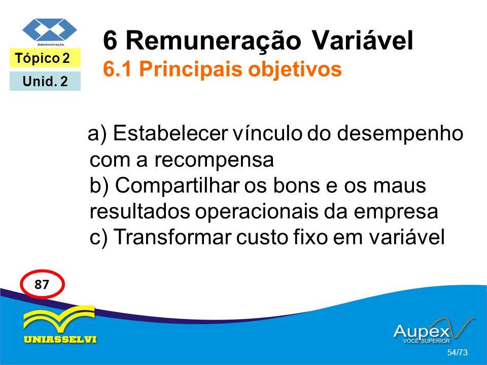 6 Remuneração Variável 6.1 Principais objetivos