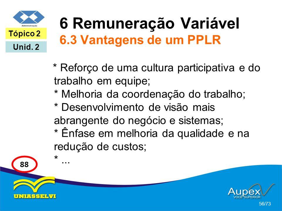 6 Remuneração Variável 6.3 Vantagens de um PPLR