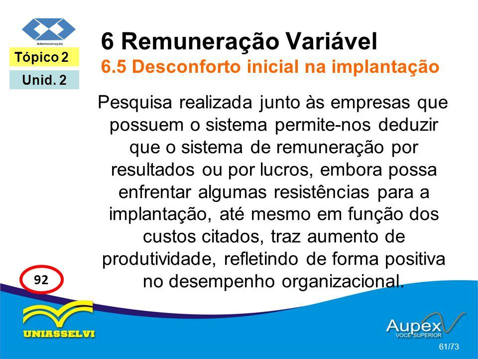 6 Remuneração Variável 6.5 Desconforto inicial na implantação