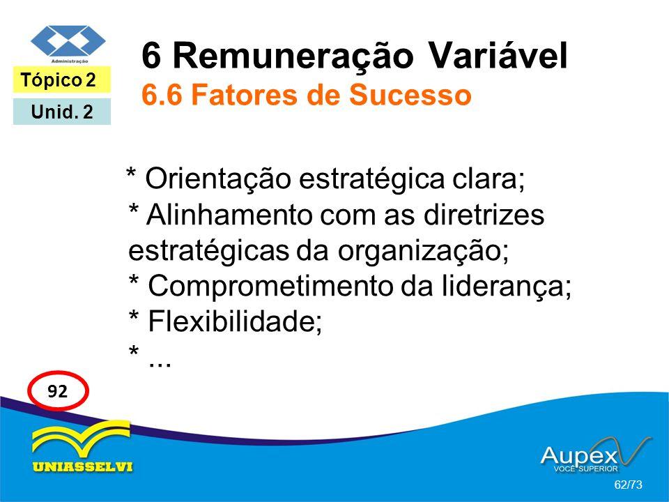 6 Remuneração Variável 6.6 Fatores de Sucesso