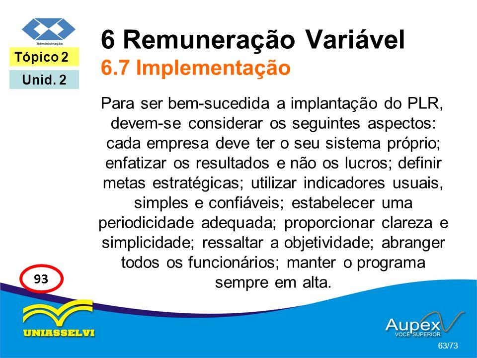 6 Remuneração Variável 6.7 Implementação