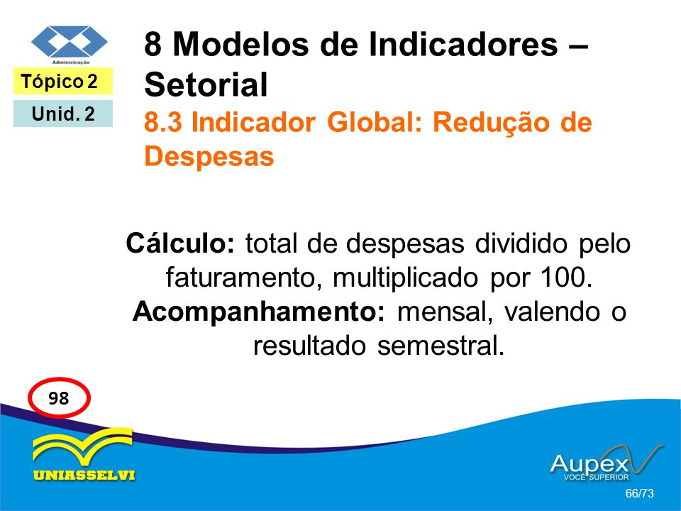 8 Modelos de Indicadores – Setorial 8