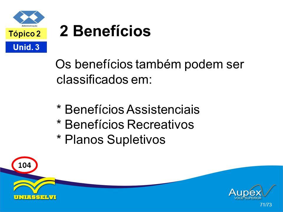 2 Benefícios Tópico 2. Os benefícios também podem ser classificados em: * Benefícios Assistenciais * Benefícios Recreativos * Planos Supletivos.