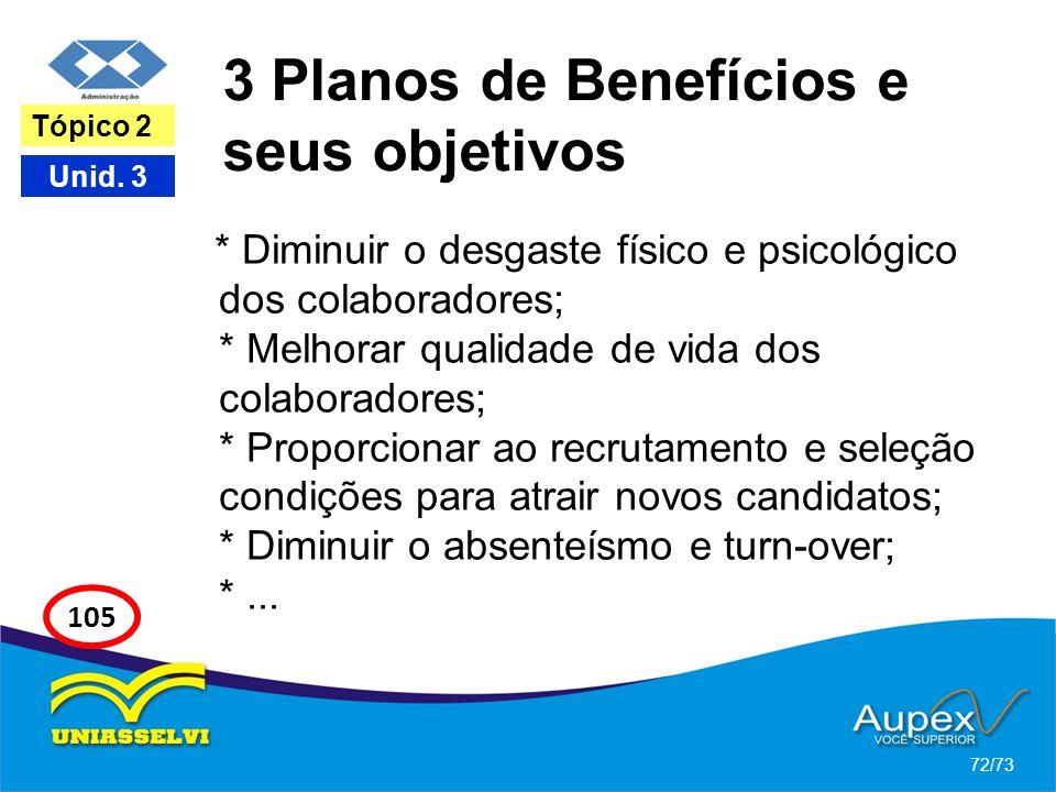 3 Planos de Benefícios e seus objetivos